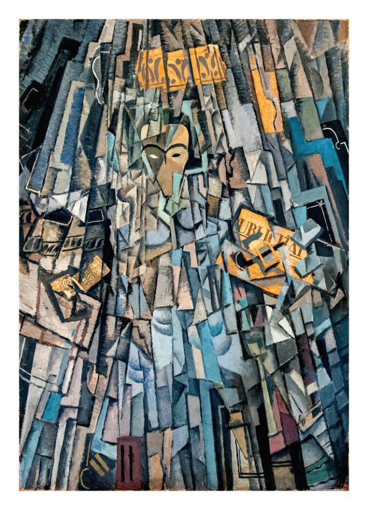 "Salvador Dali Cubist Self-Portrait with ""La Publicitat"", Canvas, Salvador Dali, kanvas tablo, canvas print sales"