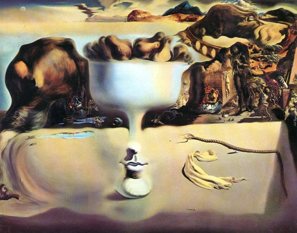 Salvador Dali Apparition of Face and Fruit Dish on a Beach, Canvas, Salvador Dali