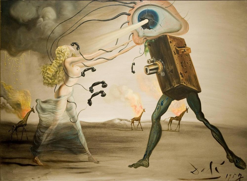 Salvador Dali Yanan Zürafalar ve Telefon, Figür, Salvador Dali, kanvas tablo, canvas print sales