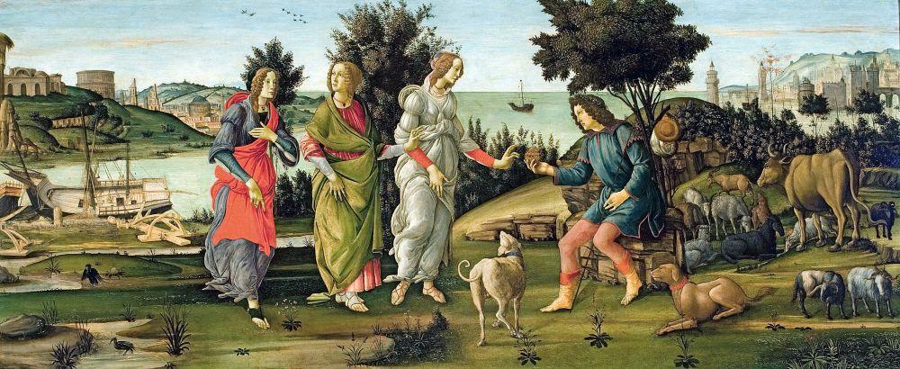 Sandro Botticelli, Paris in Kararı, Kanvas Tablo, Sandro Botticelli, kanvas tablo, canvas print sales