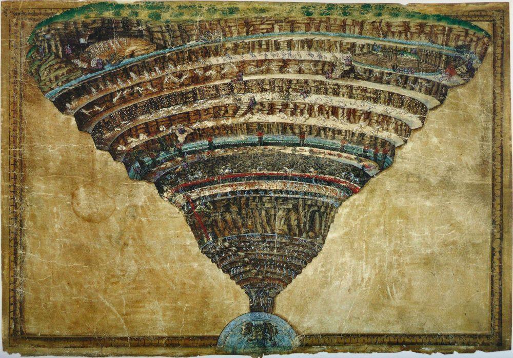 Sandro Botticelli,  İlahi Komedi, Cehennem Haritası, Kanvas Tablo, Sandro Botticelli, kanvas tablo, canvas print sales