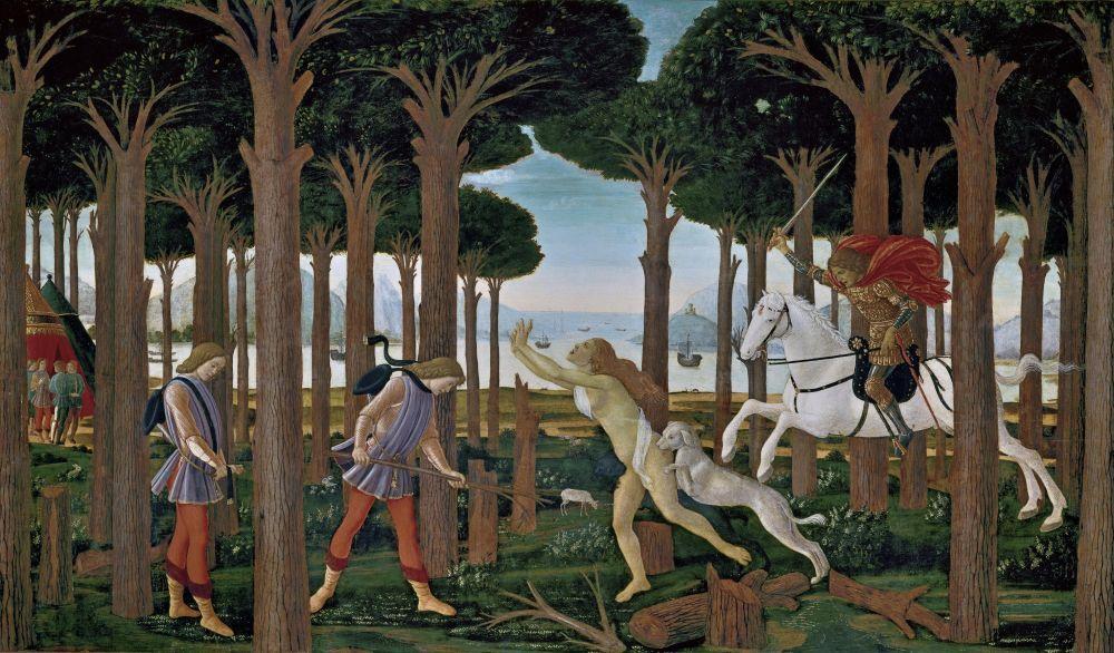 Sandro Botticelli, Nastagio degli Onesti Hikayesi, Bölüm 1, Kanvas Tablo, Sandro Botticelli, kanvas tablo, canvas print sales