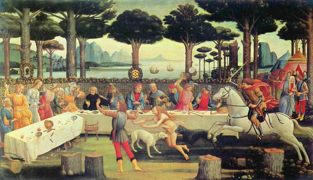 Sandro Botticelli, Nastagio degli Onesti Hikayesi, Bölüm 3, Kanvas Tablo, Sandro Botticelli, kanvas tablo, canvas print sales