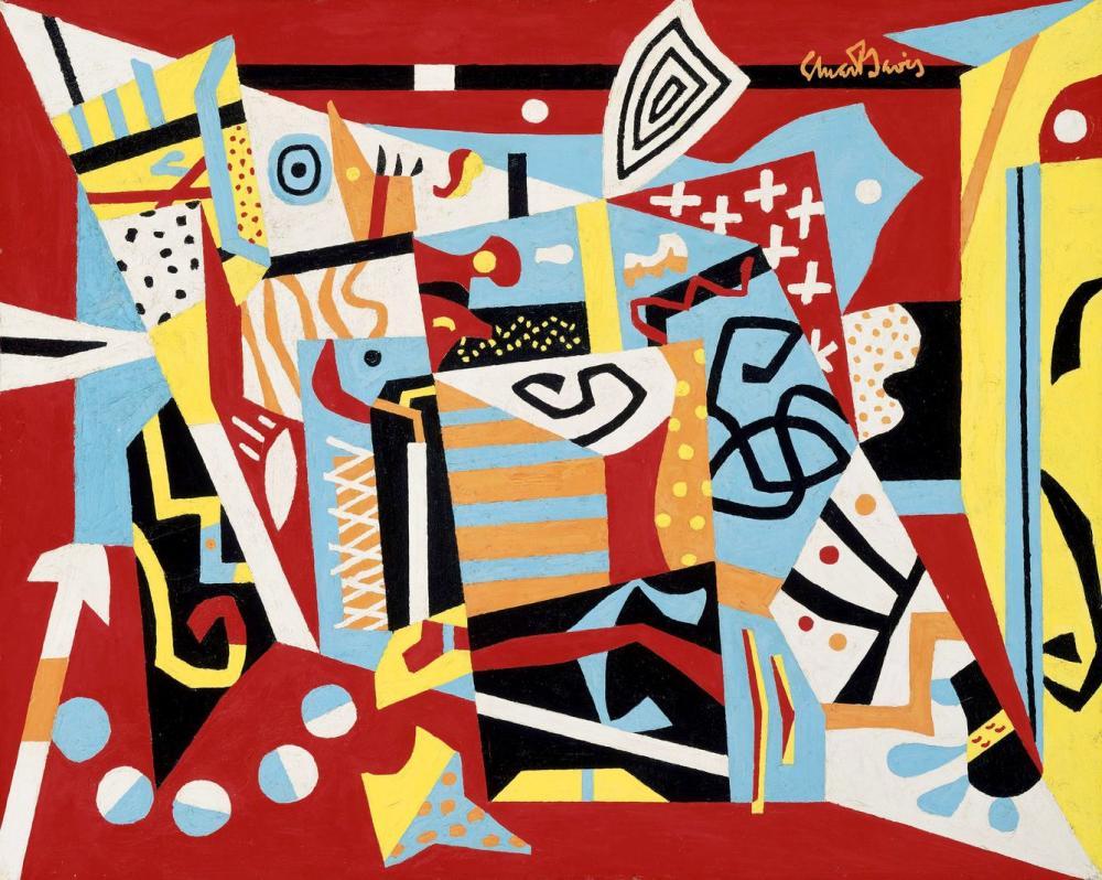 Stuart Davis Hot Still-Scape For Six Colors - 7th Avenue Style, Kanvas Tablo, Stuart Davis, kanvas tablo, canvas print sales