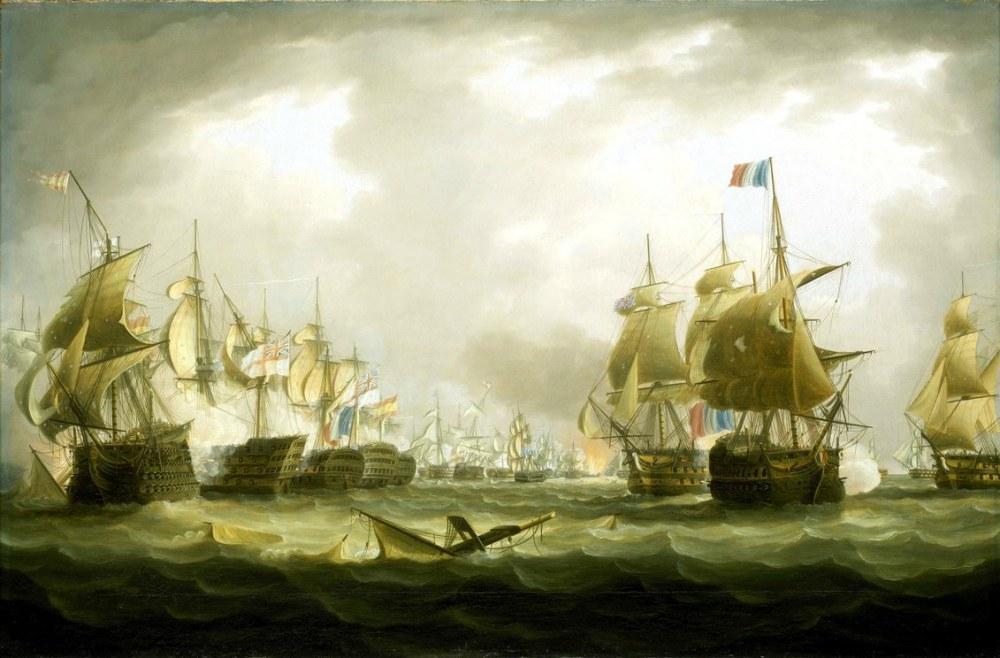Trafalgar Savaşı 1805, Thomas Buttersworth, Kanvas Tablo, Thomas Buttersworth, kanvas tablo, canvas print sales