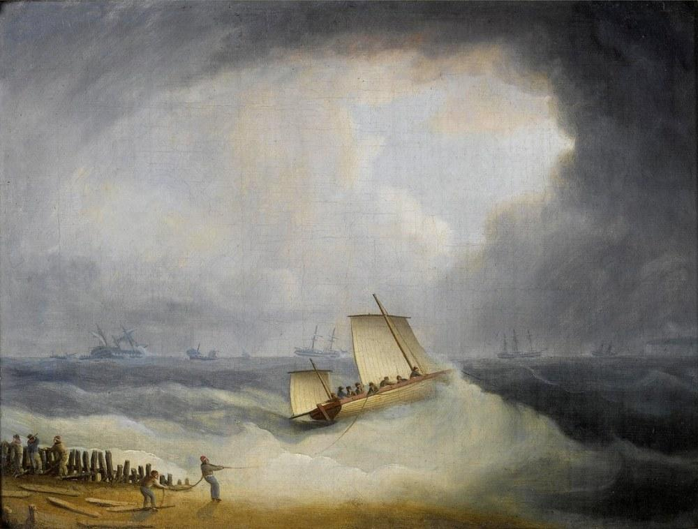 A Deal Lugger Going of to Storm Bound Ships in the Downs, Canvas, Thomas Buttersworth, kanvas tablo, canvas print sales