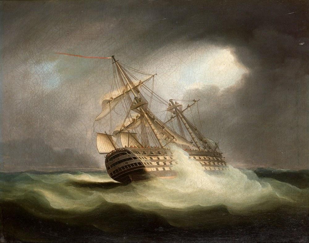 Tam Yelken ve Bir Fırtınada Zafer, Kanvas Tablo, Thomas Buttersworth, kanvas tablo, canvas print sales