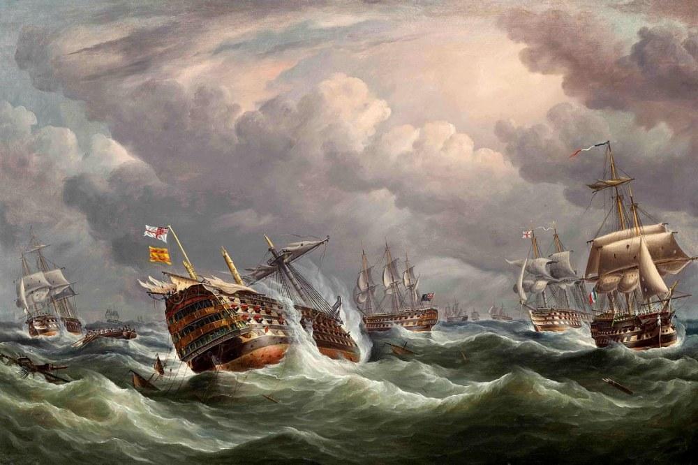 Trafalgar Sonrası İspanyol Amiral Gemisi, Kanvas Tablo, Thomas Buttersworth, kanvas tablo, canvas print sales