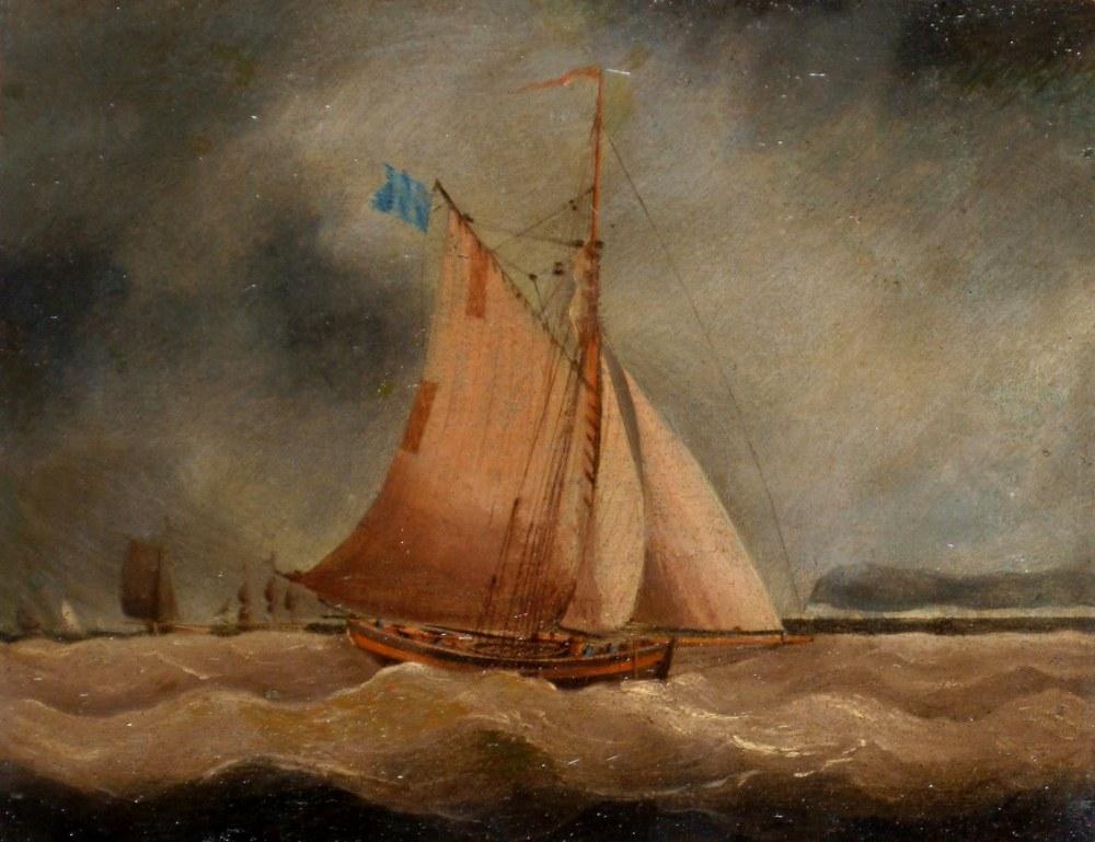 A Fishing Boat  Under Dark Skies, Thomas Buttersworth, Canvas, Thomas Buttersworth, kanvas tablo, canvas print sales