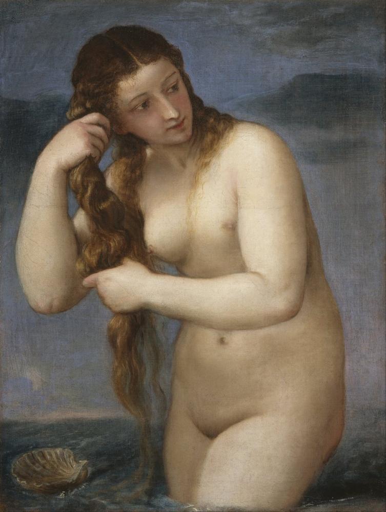 Titian Venus Rising From The Sea Venus Anadyomene, Canvas, Titian, kanvas tablo, canvas print sales