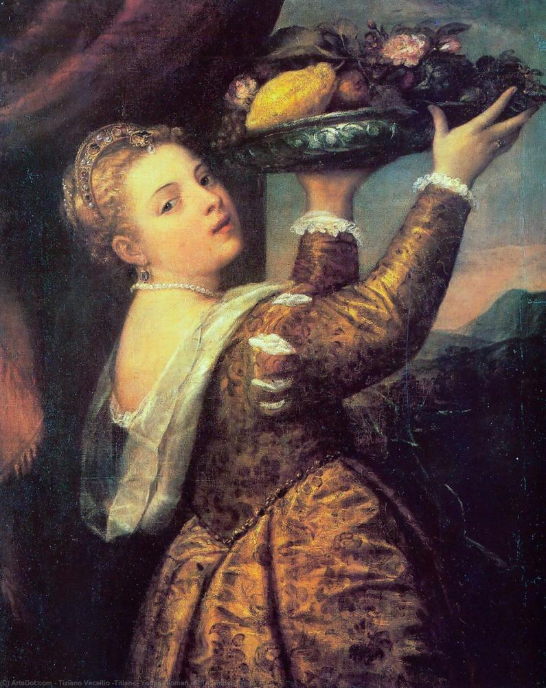 Titian Young Woman With A Dish Of Fruit, Canvas, Titian, kanvas tablo, canvas print sales
