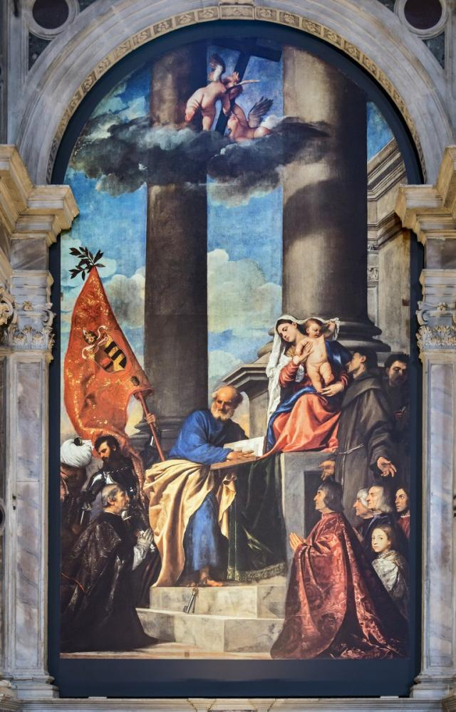 Titian Frari Venice Nave Left Altar Of Madona Di Ca Pesaro, Canvas, Titian, kanvas tablo, canvas print sales