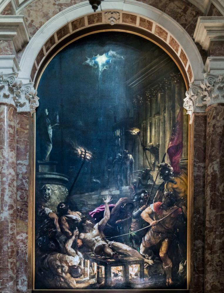 Titian Interior Of Chiesa Dei Gesuiti Venice Left Nave The Martyrdom Of St Lawrence, Canvas, Titian, kanvas tablo, canvas print sales