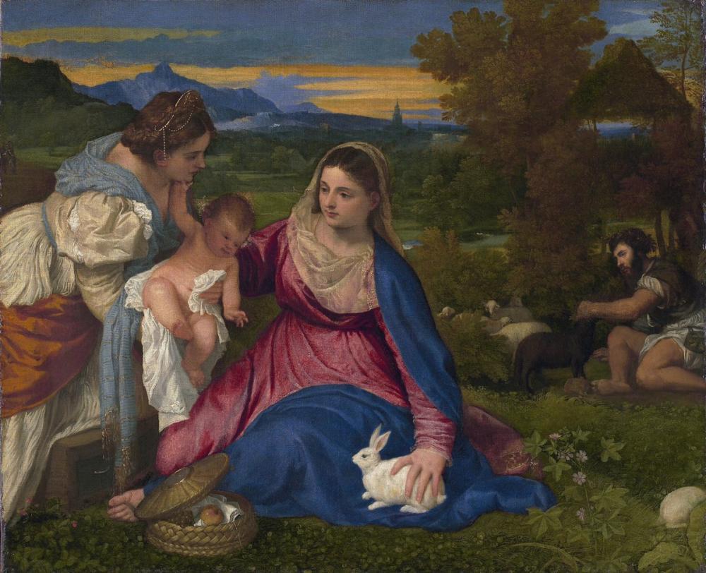 Titian Büyüteç İle Bakire Tavşan, Kanvas Tablo, Titian, kanvas tablo, canvas print sales