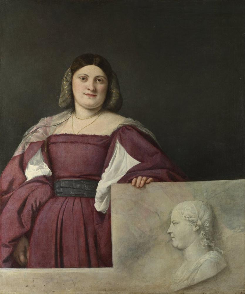 Titian Portrait Of A Lady La Schiavona, Canvas, Titian, kanvas tablo, canvas print sales