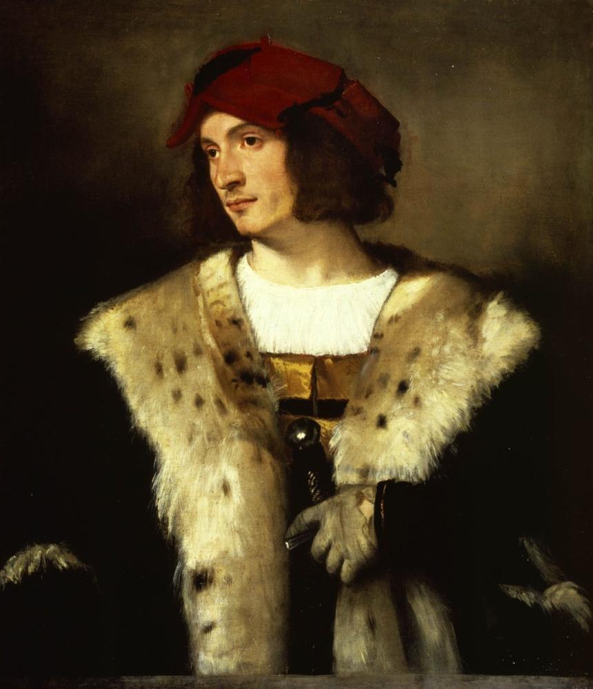 Titian Kırmızı Şapkalı Bir Adam Portresi, Kanvas Tablo, Titian, kanvas tablo, canvas print sales