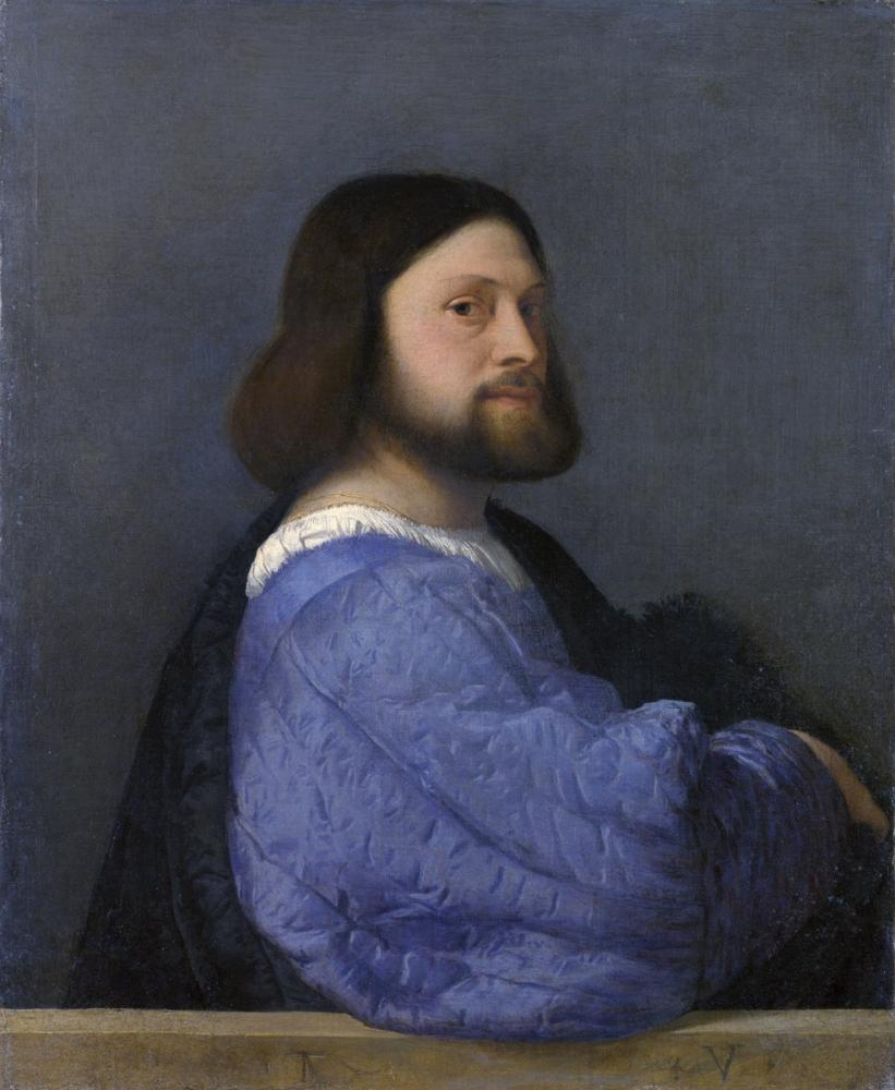 Titian Portrait Of A Man With A Quilted Sleeve, Canvas, Titian, kanvas tablo, canvas print sales