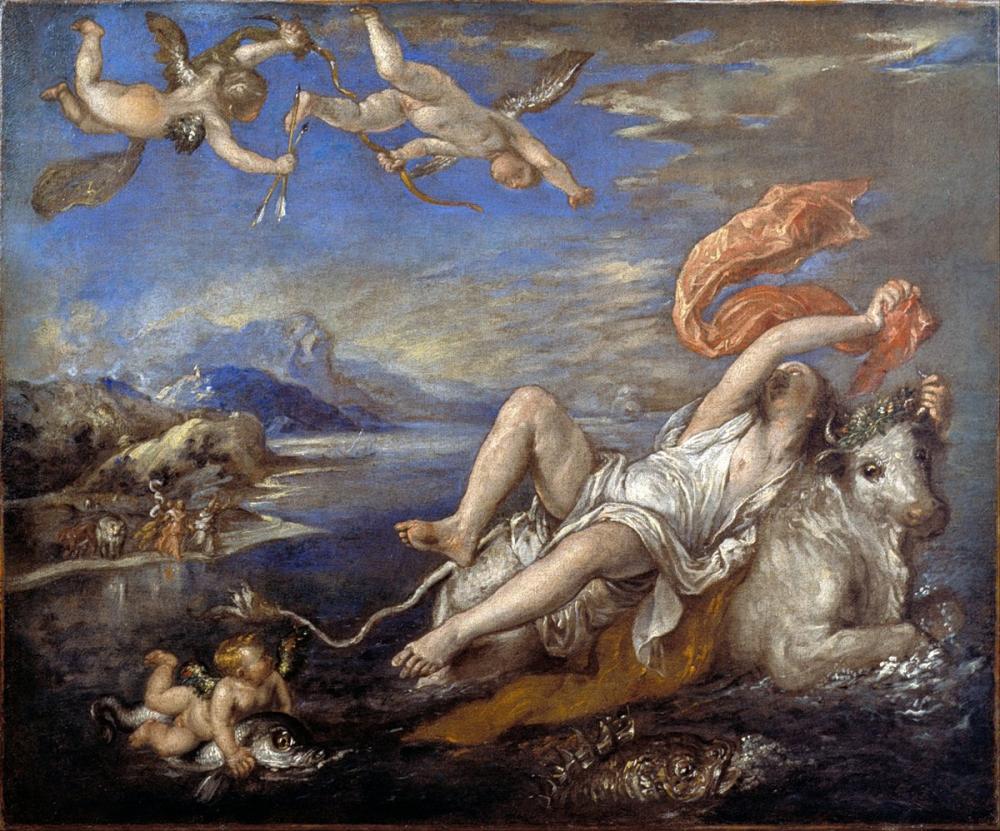 Titian Rape Of Europa, Canvas, Titian, kanvas tablo, canvas print sales