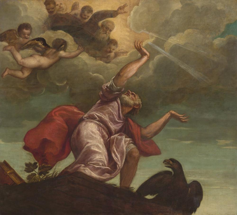 Titian Saint John The Evangelist On Patmos, Canvas, Titian, kanvas tablo, canvas print sales