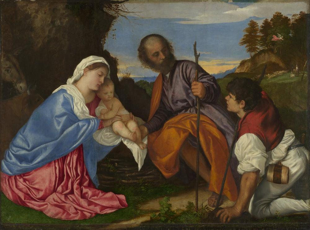 Titian The Holy Family With A Shepherd, Canvas, Titian, kanvas tablo, canvas print sales
