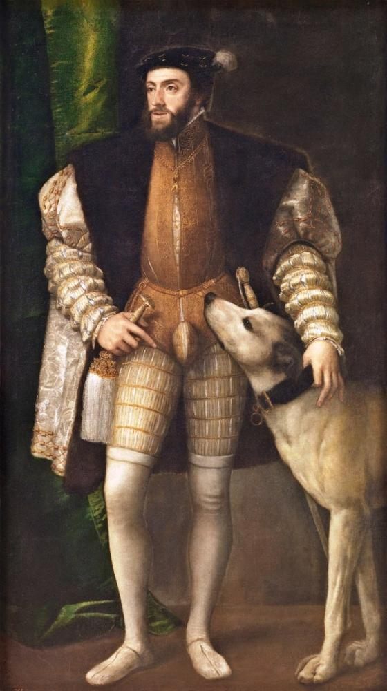 Titian Charles V Standing With His Dog, Canvas, Titian, kanvas tablo, canvas print sales