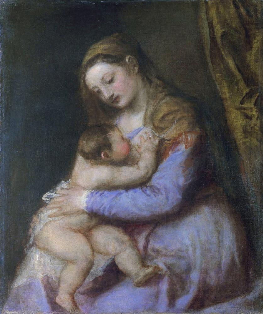 Titian Bebek İsa Mesih Bakire Emmek, Kanvas Tablo, Titian, kanvas tablo, canvas print sales
