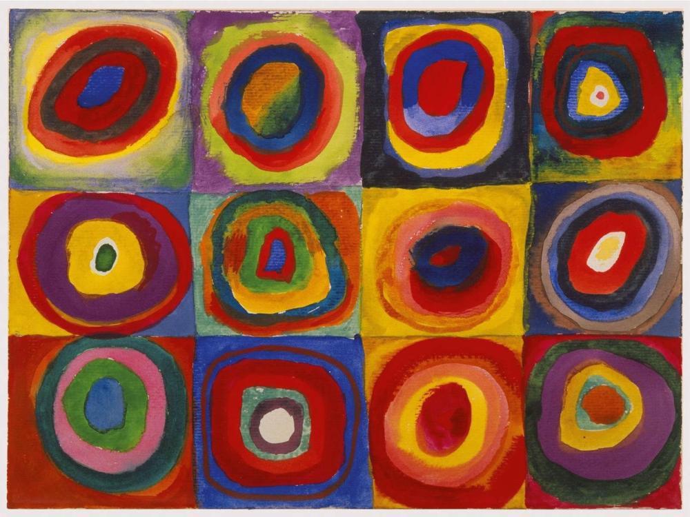 Vassily kandinsky Renkli Çalışma, Konsantrik Çemberli Kareler, Kanvas Tablo, Vasily Kandinsky, kanvas tablo, canvas print sales