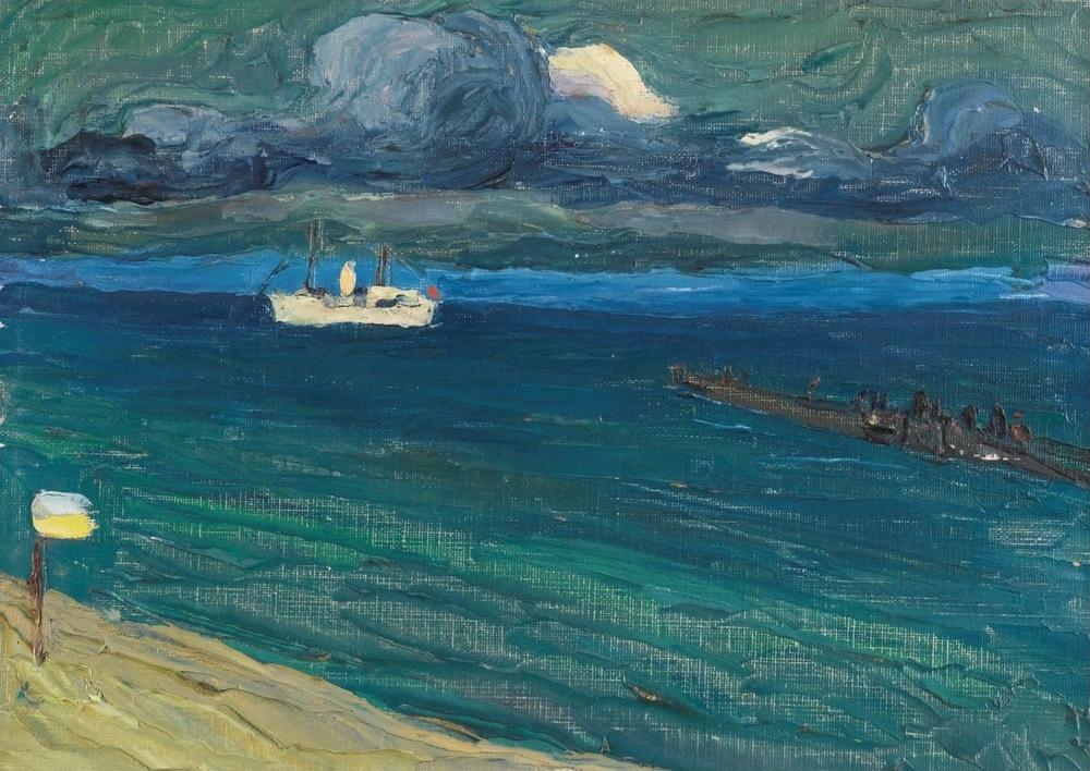 Rapallo Deniz Manzarası ile Vapur, Vasily Kandinsky, Kanvas Tablo, Vasily Kandinsky, kanvas tablo, canvas print sales