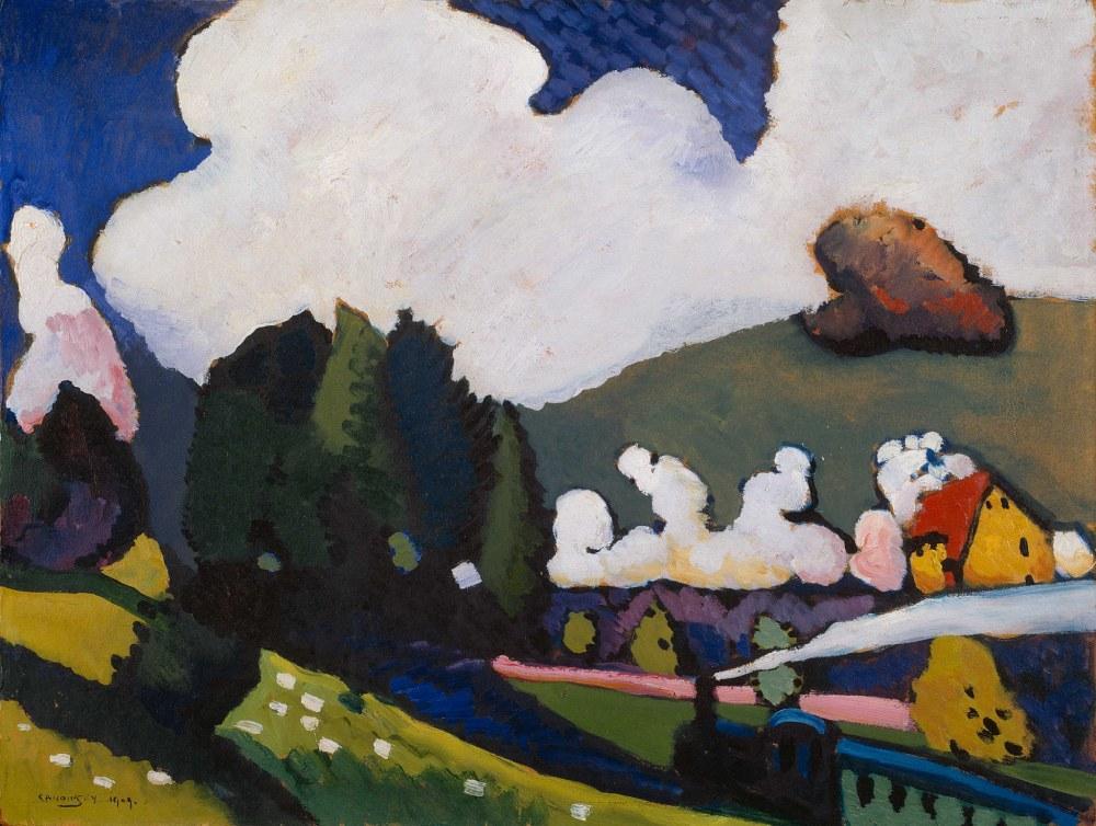 Lokomotifle Murnau Yakininda Manzara, Vassily Kandinsky, Kanvas Tablo, Vasily Kandinsky, kanvas tablo, canvas print sales