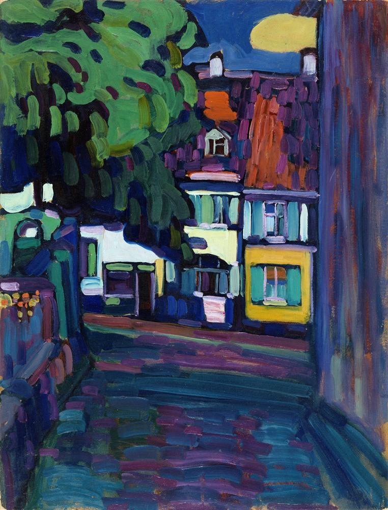 Houses in Murnau on Obermarkt, Vasily Kandinsky, Canvas, Vasily Kandinsky, kanvas tablo, canvas print sales