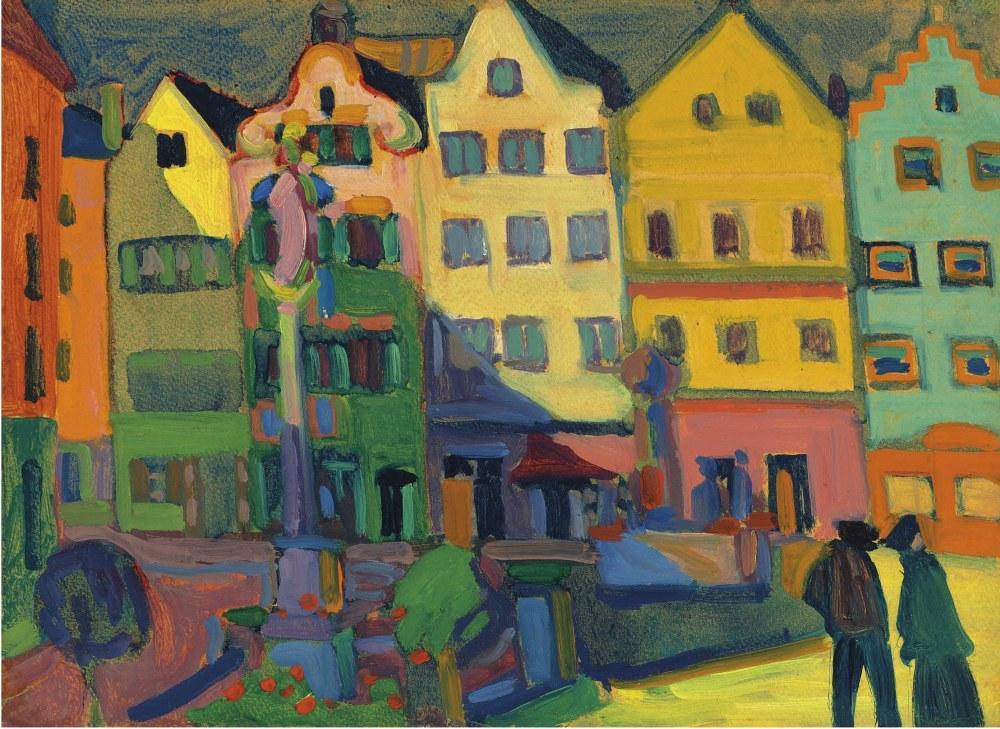 Weilheim-Marienplatz, Vasily Kandinsky, Kanvas Tablo, Vasily Kandinsky, kanvas tablo, canvas print sales