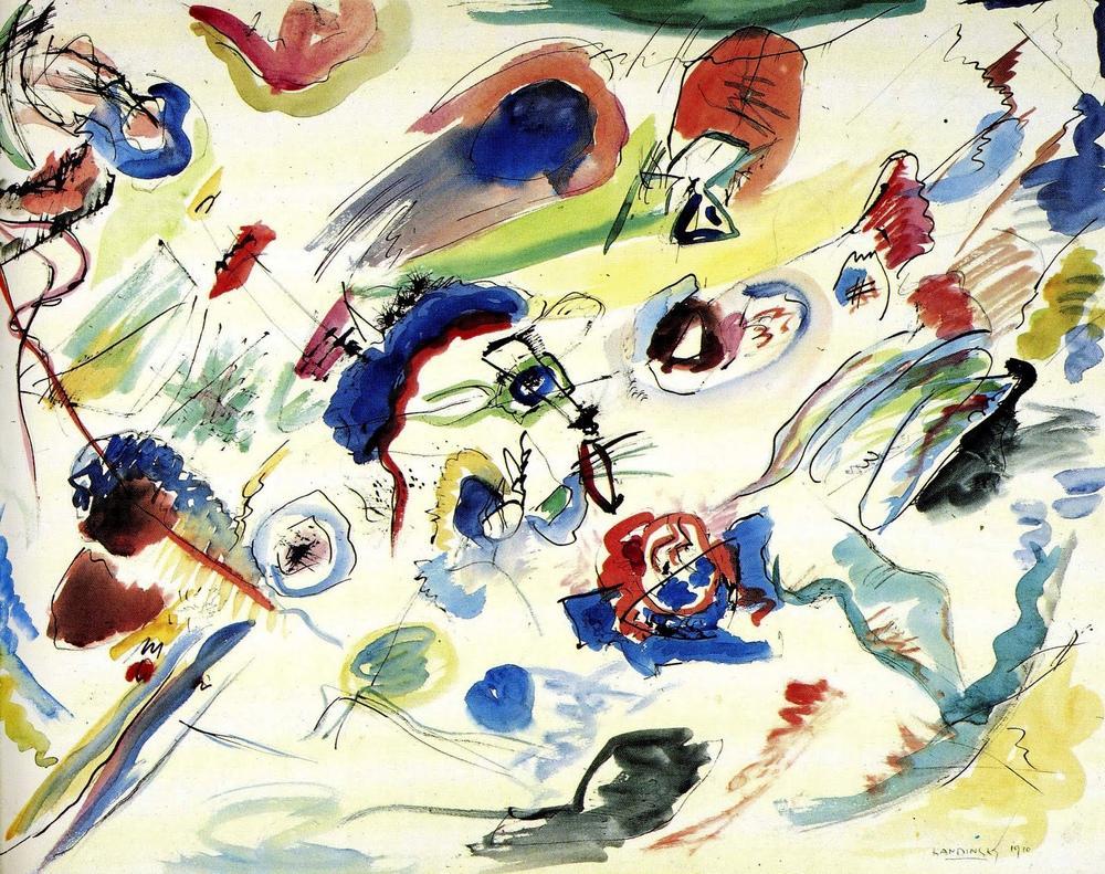 Vasily Kandinsky, Suluboya İlk Soyut Çalışma, Kanvas Tablo, Vasily Kandinsky, kanvas tablo, canvas print sales