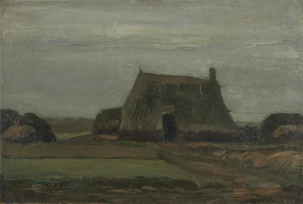 Vincent van Gogh, Turba Yığınları ile Boerderij Çiftliği, Kanvas Tablo, Vincent Van Gogh, kanvas tablo, canvas print sales