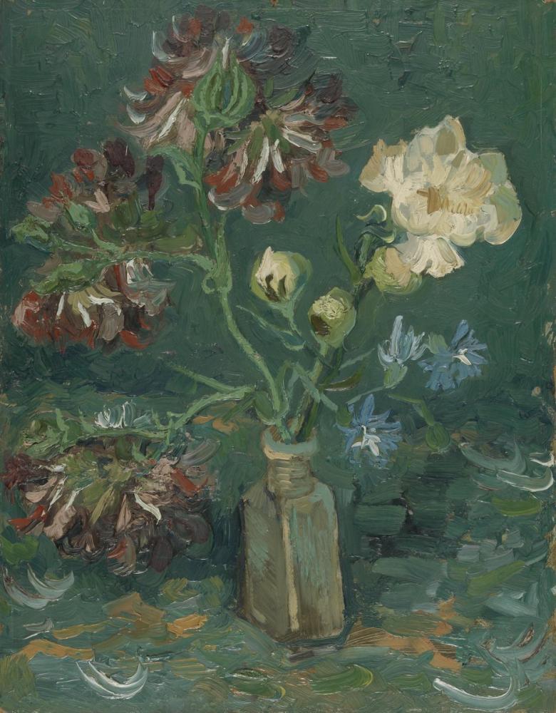 Vincent van Gogh, Bottle with Peonies and Blue Delphinium, Canvas, Vincent Van Gogh, kanvas tablo, canvas print sales