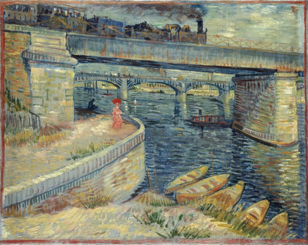 Vincent van Gogh, Bridges Across the Seine at Asnières, Canvas, Vincent Van Gogh, kanvas tablo, canvas print sales