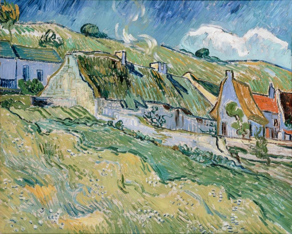 Vincent van Gogh, Thatched Cottages, Canvas, Vincent Van Gogh, kanvas tablo, canvas print sales