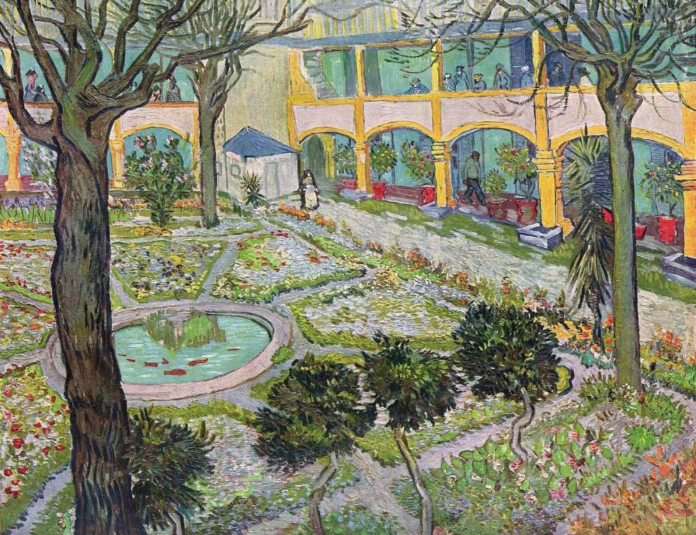Vincent van Gogh, Courtyard of The Hospital at Arles, Canvas, Vincent Van Gogh, kanvas tablo, canvas print sales