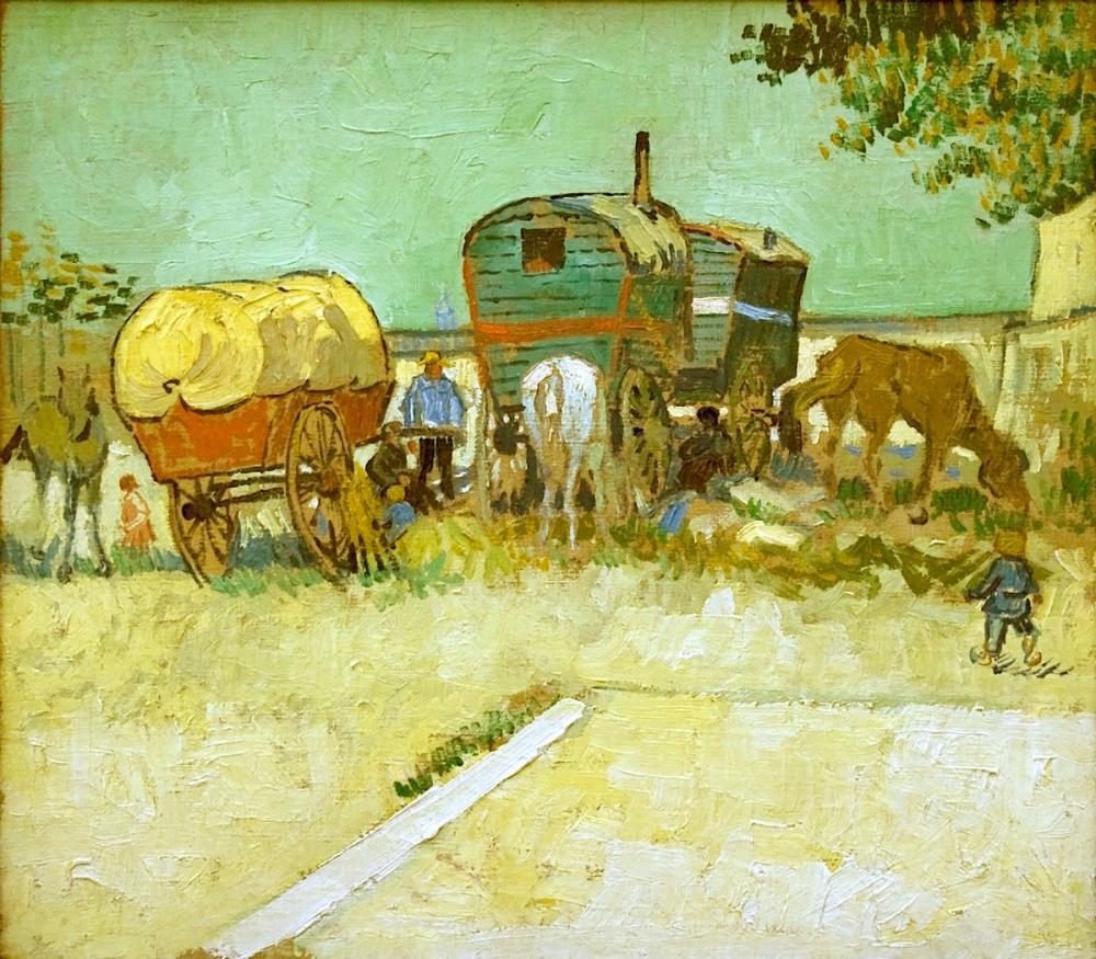 Vincent van Gogh, Encampment of Gypsies with Caravans, Canvas, Vincent Van Gogh, kanvas tablo, canvas print sales