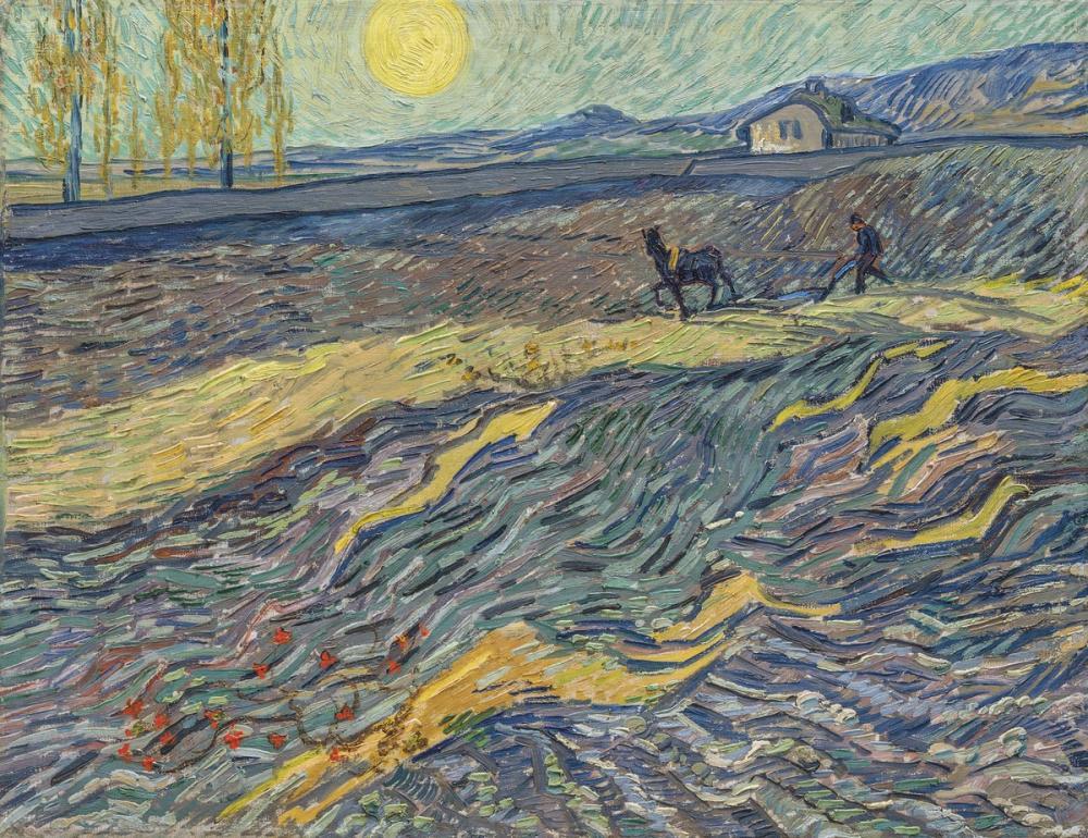 Vincent van Gogh, Bir Tarlada Çiftçi, Kanvas Tablo, Vincent Van Gogh, kanvas tablo, canvas print sales
