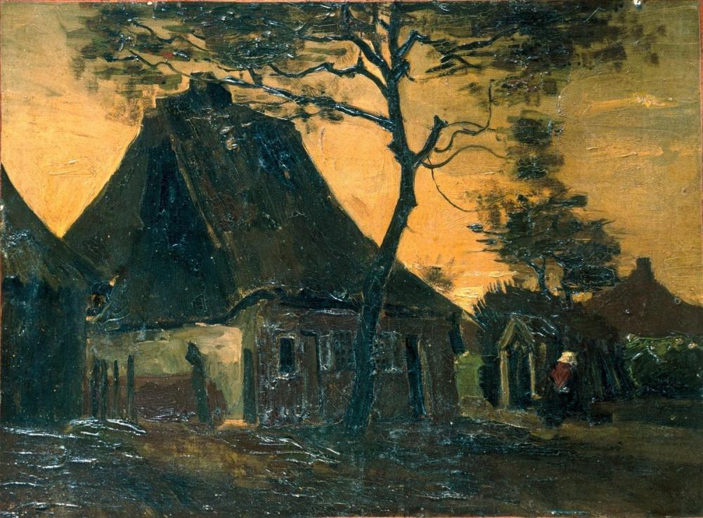 Vincent van Gogh, Farmhouse with Trees, Canvas, Vincent Van Gogh, kanvas tablo, canvas print sales