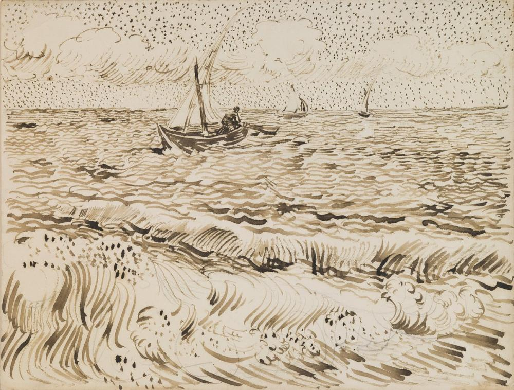 Vincent van Gogh, Fishing Boats at Saintes Maries de la Mer, Canvas, Vincent Van Gogh, kanvas tablo, canvas print sales