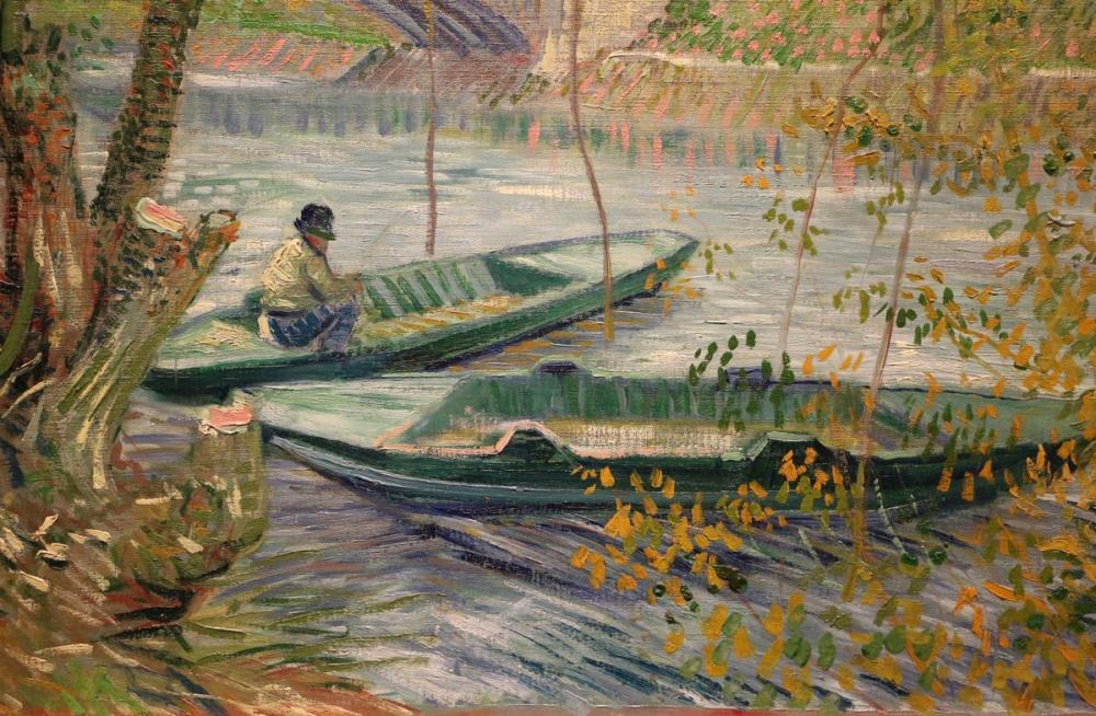 Vincent van Gogh, Baharda Balıkçılık Pont de Clichy Asnieres, Kanvas Tablo, Vincent Van Gogh, kanvas tablo, canvas print sales