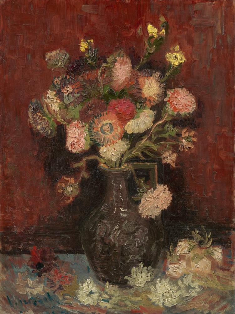 Van Gogh Vase with Chinese Asters and Gladioli 2, Canvas, Vincent Van Gogh