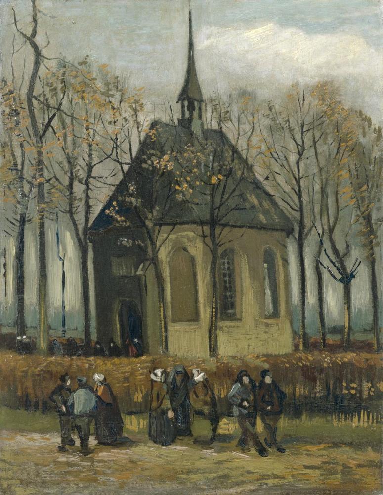 Vincent van Gogh, Going out of The Reformed Church in Nuenen, Canvas, Vincent Van Gogh, kanvas tablo, canvas print sales