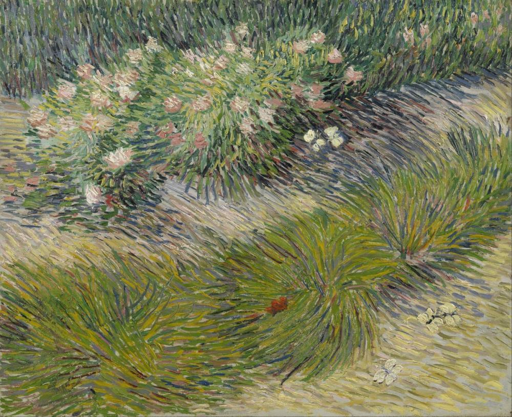 Vincent van Gogh, Çimen ve Kelebekler, Kanvas Tablo, Vincent Van Gogh, kanvas tablo, canvas print sales