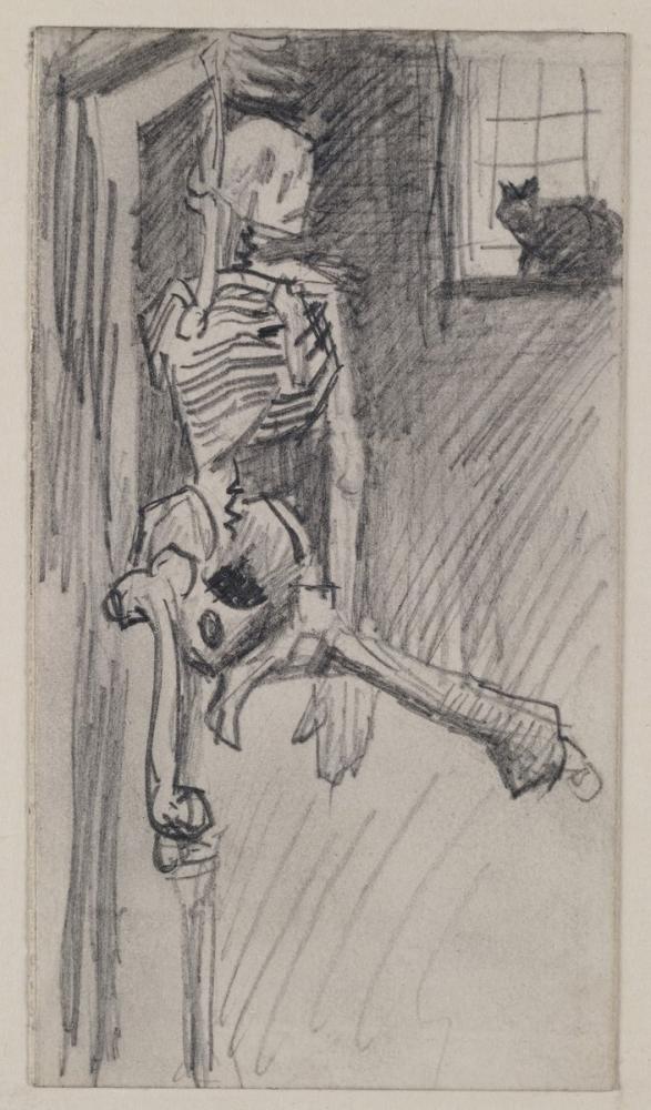 Vincent van Gogh, Asılı İskelet ve Kedi, Figür, Vincent Van Gogh, kanvas tablo, canvas print sales