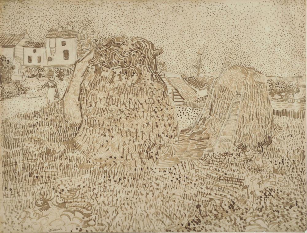 Vincent van Gogh, Kuru Ot Yığınları, Kanvas Tablo, Vincent Van Gogh, kanvas tablo, canvas print sales