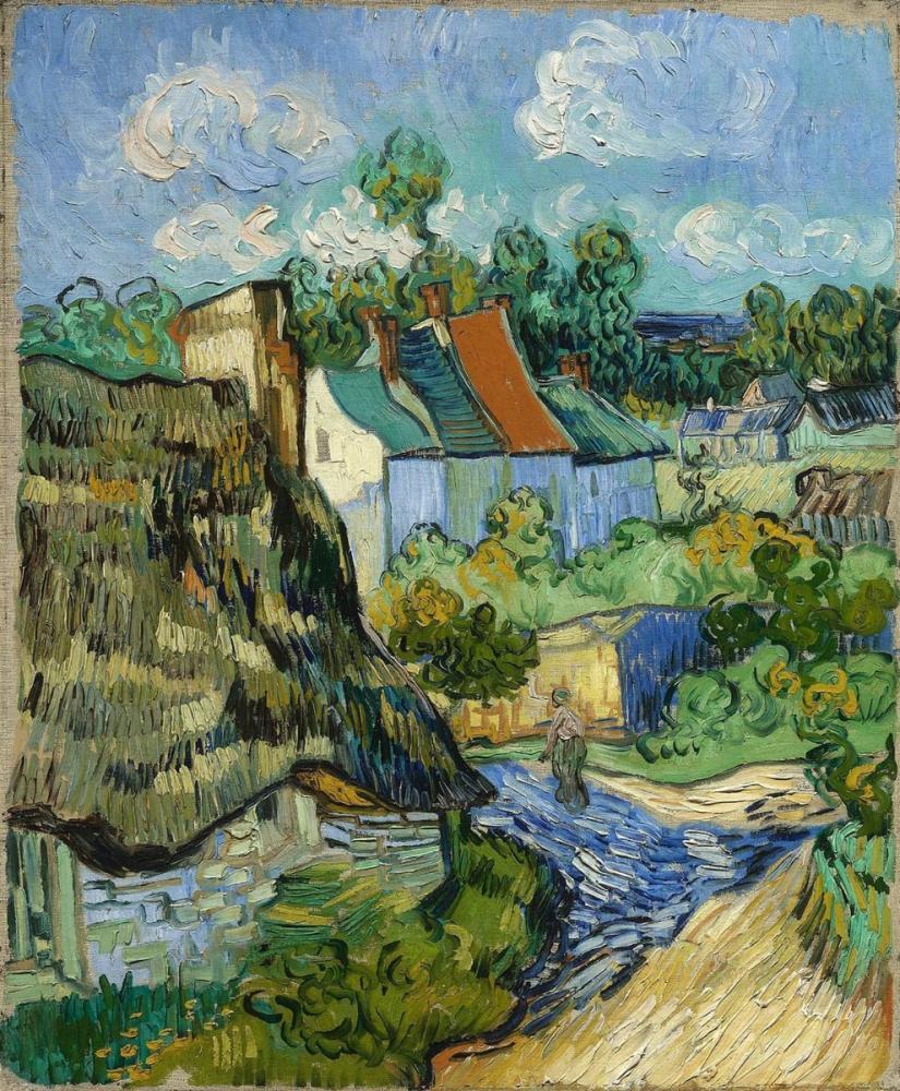 Vincent van Gogh, Houses in Auvers, Canvas, Vincent Van Gogh, kanvas tablo, canvas print sales