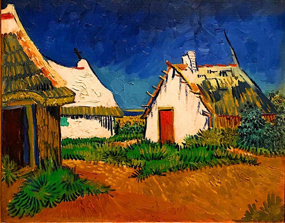 Vincent van Gogh, Three White Cottages in Saintes Maries, Canvas, Vincent Van Gogh, kanvas tablo, canvas print sales