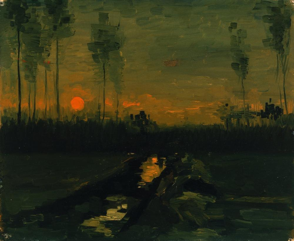 Vincent van Gogh, Landscape at Sunset, Canvas, Vincent Van Gogh, kanvas tablo, canvas print sales